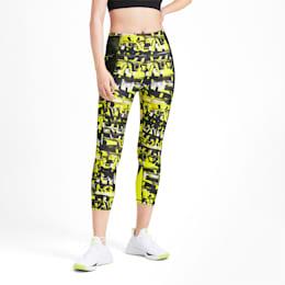 Be Bold AOP Women's 3/4 Leggings, Puma Black-Yellow Alert, small