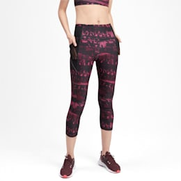 Be Bold All-Over Print 3/4 Women's Training Tights, Vineyard Wine, small-IND