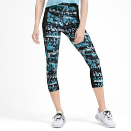 Be Bold All-Over Print 3/4 Women's Training Tights, Milky Blue, small-IND