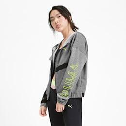 HIT Feel It Knitted Women's Training Sweat Jacket, Medium Gray Heather, small