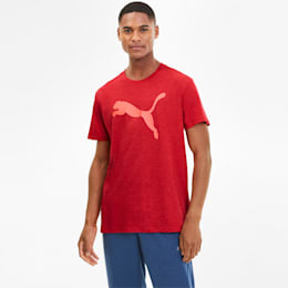 Heather Cat Men's Training Tee, High Risk Red Heather, small