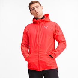 Lightweight Woven Hooded Men's Running Jacket, Nrgy Red, small