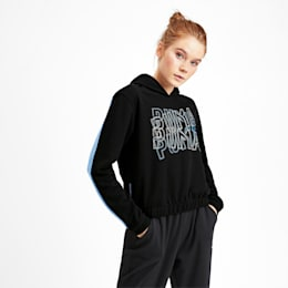 Feel It Damen Training Hoodie, Puma Black-Blue Glimmer, small
