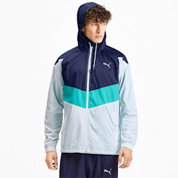 Reactive Woven Men's Training Jacket, White-Peacoat-Blue Turquoise, small