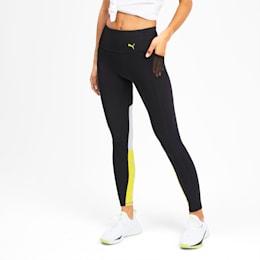 Feel It 7/8 Women's Training Leggings, Puma Black-Yellow Alert, small