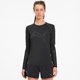 Runner ID Long Sleeve Women's Running Tee, Puma Black, small-SEA