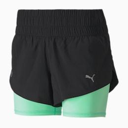Last Lap 2-in-1 Women's Training Shorts, Puma Black-Green Glimmer, small-SEA
