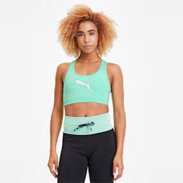 4Keeps Graphic Women's Training Bra, GreenGlimmer-Black-PUMA Mesh, small