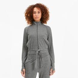 Studio Damen Anpassbare Gestrickte Trainingsjacke, Medium Gray Heather, small