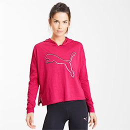Women's Elastic Logo Midlayer, BRIGHT ROSE, small