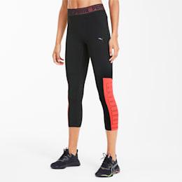 Logo Elastic Women's 3/4 Leggings, Puma Black-Ignite Pink, small