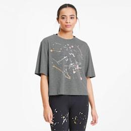 Metal Splash Graphic Damen Training T-Shirt, Medium Gray Heather, small