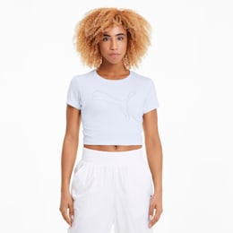 Feel It Cropped training-T-shirt voor dames, Puma White-Outline Cat prt, small