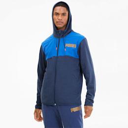 Collective Men's Warm Up Jacket, Dark Denim-Palace Blue, small