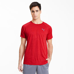 Heather Short Sleeve Men's Training Tee, High Risk Red Heather, small