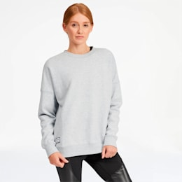 AL x PUMA Women's Crewneck Sweatshirt, Light Gray Heather, small
