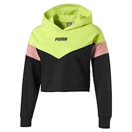 Sweat à capuche court Colour Block pour fille, Puma Black-Sunny Lime, small