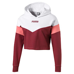 Camisola com capuz curta Colour-Blocked para rapariga, Burnt Russet-Puma White, small
