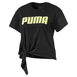 Mädchen T-Shirt mit Knotendetail, Puma Black, small
