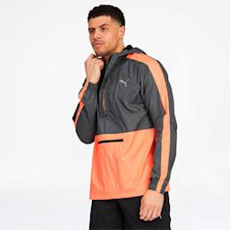Pivot Men's Half Zip Jacket, Smoked Pearl-Fizzy Orange, small