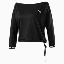 PUMA x PAMELA REIF Off-Shoulder Damen Sweatshirt, Puma Black, small