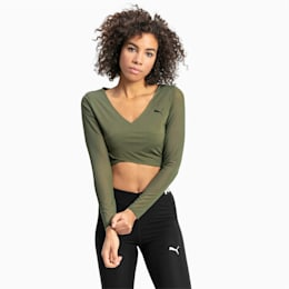 PUMA x PAMELA REIF Cropped Long Sleeve Women's Top, Four Leaf Clover, small