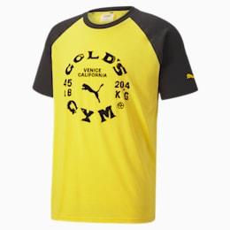 PUMA x GOLD'S GYM dryCELL Raglan trainingsshirt voor heren, Dandelion-Puma Black, small
