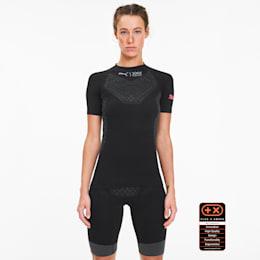 PUMA by X-BIONIC Twyce Short Sleeve Women's Running Tee, Puma Black-Pink Alert, small