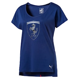Ferrari Women's Big Shield T-Shirt, TWILIGHT BLUE, small-IND