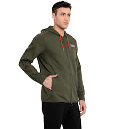 Archive Men's Record Fleece Full Zip Hoodie, Olive Night, small-IND