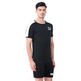 Men's T7 Slim Cut T-Shirt, Puma Black-white, small-IND