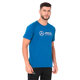MERCEDES AMG PETRONAS Men's Logo Tee, Blue Coral, small-IND