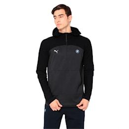 BMW MMS evoKNIT Quarter Zip Hooded Men's Pullover, Puma Black Heather, small-IND