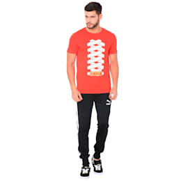 SUEDE TEE Cotton Black, Flame Scarlet, small-IND