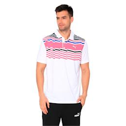 Road Map Men's Golf Polo, Bright White-Fuchsia Purple, small-IND