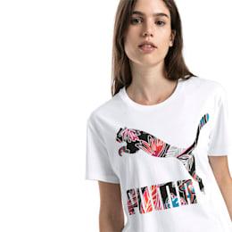 Short Sleeve Women's Tee, Puma White-logo fill, small-SEA