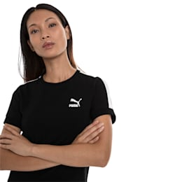 T-Shirt Classics T7 étroit pour femme, Cotton Black-puma white, small