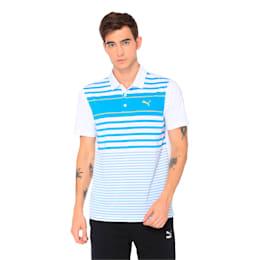 Spotlight Men's Golf Polo, bleu azur-blazing yellow, small-IND