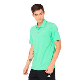 Grill to Green Men's Golf Polo, Irish Green Heather, small-IND