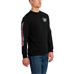 Downtown Men's Long Sleeve Graphic Tee, Cotton Black, small
