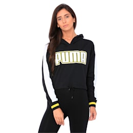 Women's Rebel Reload Cropped Hoodie, Puma Black, small-IND