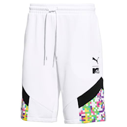PUMA x MTV MCS Allover-Print Herren Shorts, Puma White-AOP, small
