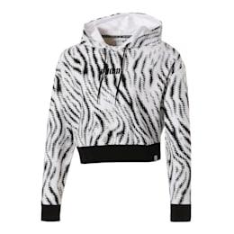 WILD PACK ウィメンズ クロップド AOP フーディ, Puma White-Zebra AOP, small-JPN