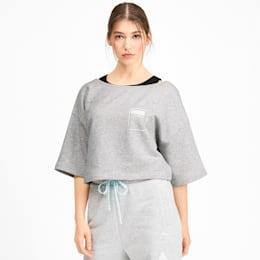 PUMA x SELENA GOMEZ Damen Bauchfreies Kurzärmliges Sweatshirt, Light Gray Heather, small