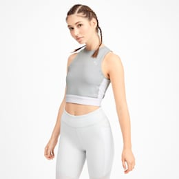 PUMA x SELENA GOMEZ Sleeveless Women's Crop Top, Glacier Gray-Puma White, small
