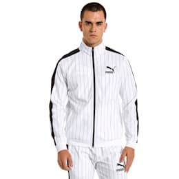 Archive Pinstripe T7 Men's Track Jacket, Puma White-AOP, small