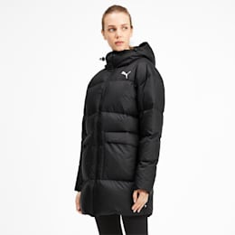 450 Long Hooded Down Women's Coat, Puma Black, small