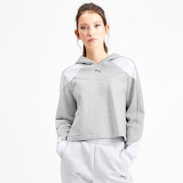 Evostripe Long Sleeve Women's Hoodie, Light Gray Heather, small