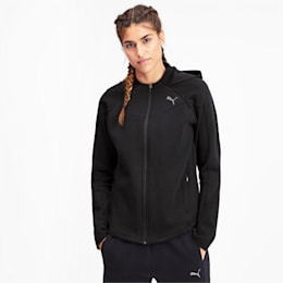 Evostripe Full Zip Women's Hoodie, Puma Black, small-IND