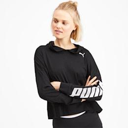 Modern Sport Long Sleeve Women's Hoodie, Puma Black, small-SEA